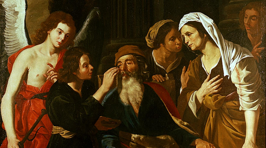Tobia restores his sight to his father, Henrick De Somer - Palazzo Zevallos Stigliano