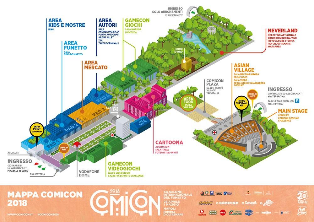 Mappa del Comicon 2018 a Napoli