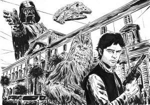Han Solo disegnato con il Mann di Napoli