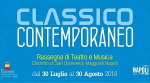 póster del clásico contemporáneo 2018 en San Domenico Maggiore en Nápoles con muchas representaciones teatrales