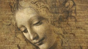 póster de La Scapiliata de Leonardo da Vinci en Nápoles en exhibición en el Palazzo Zevallos