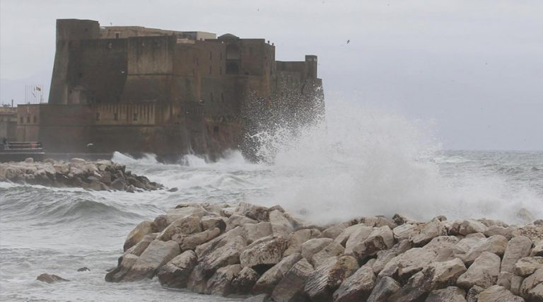 Sea moved on the waterfront of Naples