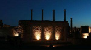 Cartel de visitas nocturnas en Pompeya, Oplontis y Boscoreale a precio reducido para verano 2018
