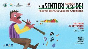 Cartel de Festival Agerola En los Senderos de los Dioses 2018 con muchos conciertos y espectáculos gratuitos