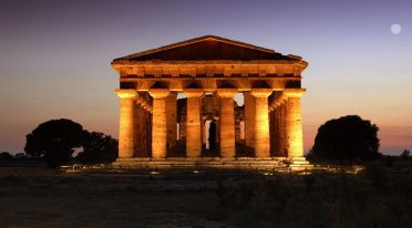 Paestum in the evening with the Temple of Neptune