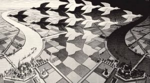 Escher's poster on display at the Naples PAN: the works of a visionary genius and his artistic heirs