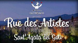 locandina di Festival degli artisti di strada a Sant'Agata de' Goti con giocolieri, trampolieri e sputafuoco