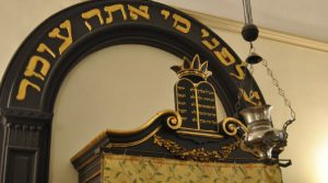 poster of guided tour of the Synagogue of Naples, a Jewish building in a historic building