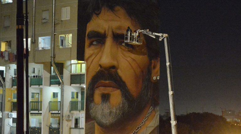 Restoration of the mural of Maradona in Naples