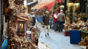 poster of the Christmas Fair in San Gregorio Armeno 2018 in Naples, the famous street of the nativity scenes