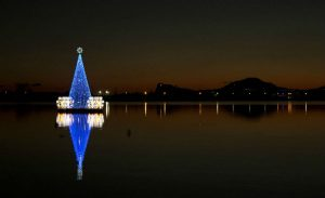 2018 Christmas Tree poster floating in Bacoli: an incredible experience on Lake Miseno