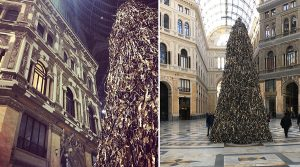 Pyramid's poster at the Galleria Umberto in Naples, the Christmas tree with scrap materials