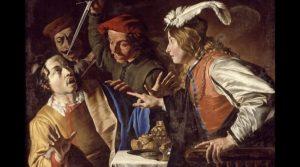 Cartel de Caravaggisti en exhibición en el Museo Filangieri de Nápoles con los modelos de las armas de Caravaggio.