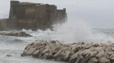 Wind and rough sea in Naples