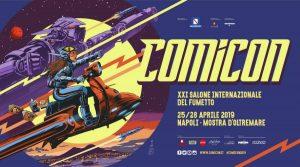 affiche du Manifeste Comicon 2019 à Naples: un voyage dans le futur