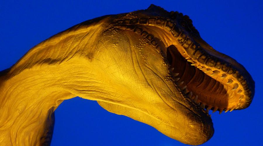 locandina di Sauronotti 2019 ai Dinosauri in carne e ossa agli Astroni a Napoli con visite serali