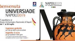 poster of Mostra Paideia, youth and sport in antiquity at the Mann of Naples for the Universiade