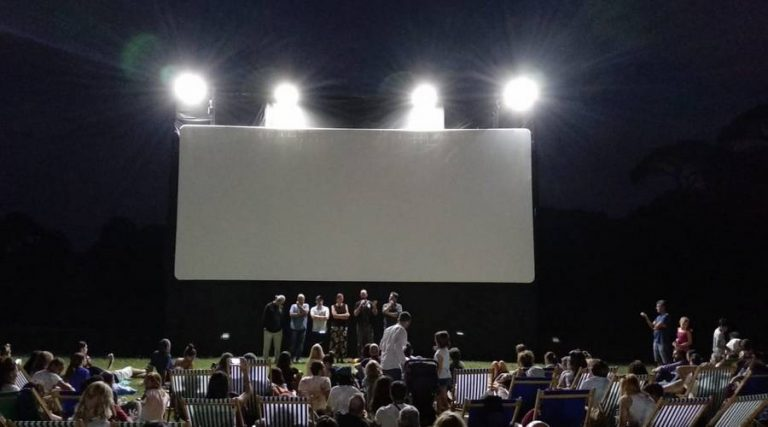 open-air cinema in the forest of capodimonte
