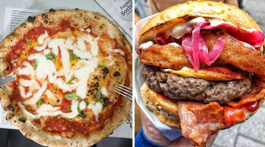 Pizza und Sandwich
