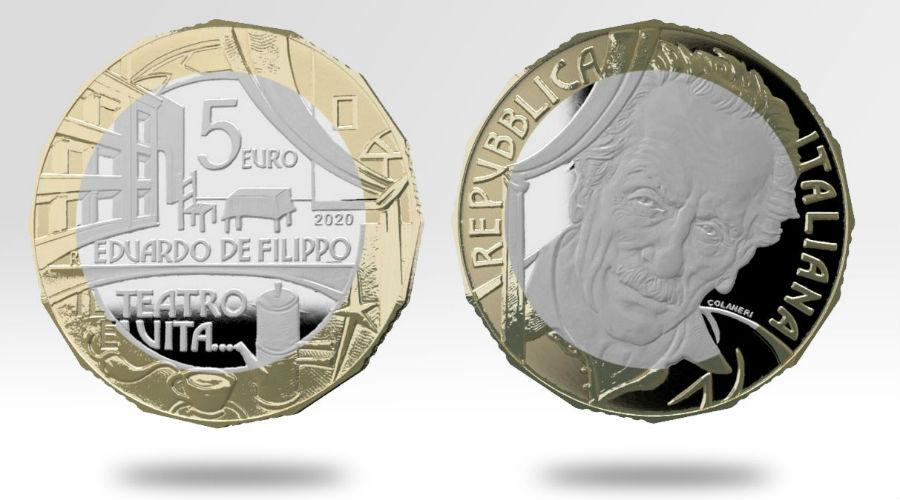 Moneta dedicata ad Eduardo De Filippo