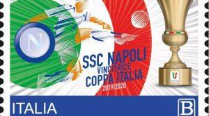 Francobollo celebrativo della Coppia Italia del Napoli