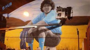 Wandbild von Maradona von Leticia Mandragora