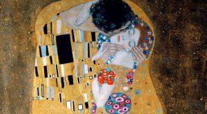 affiche de l'exposition virtuelle sur Klimt à Naples dans la Villa Comunale